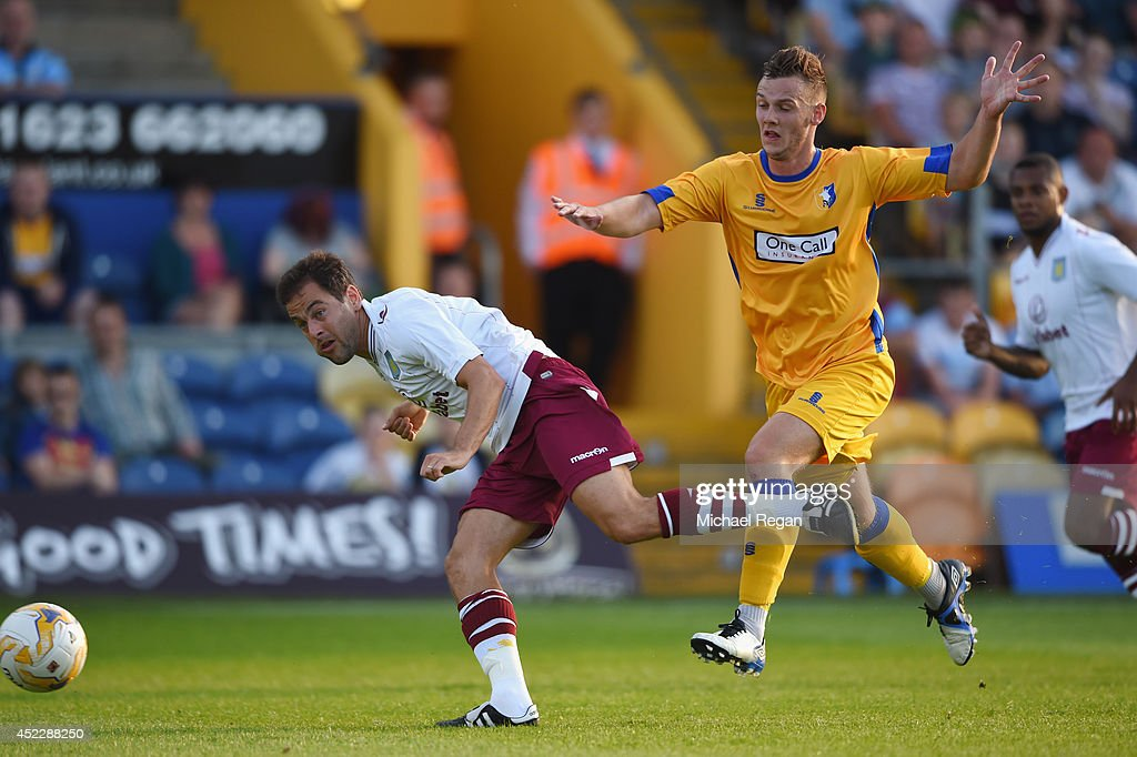 Joe Cole of Aston Villa in action during the pre-season friendly match between Mansfield and Aston Villa at the One Call Stadium on July 17, 2014 in Mansfield, England.