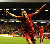 Joe Cole of Liverpool celebrates his goal during the UEFA Europa League Group A match between Liverpool and BSC Young Boys at Anfield on November 22...