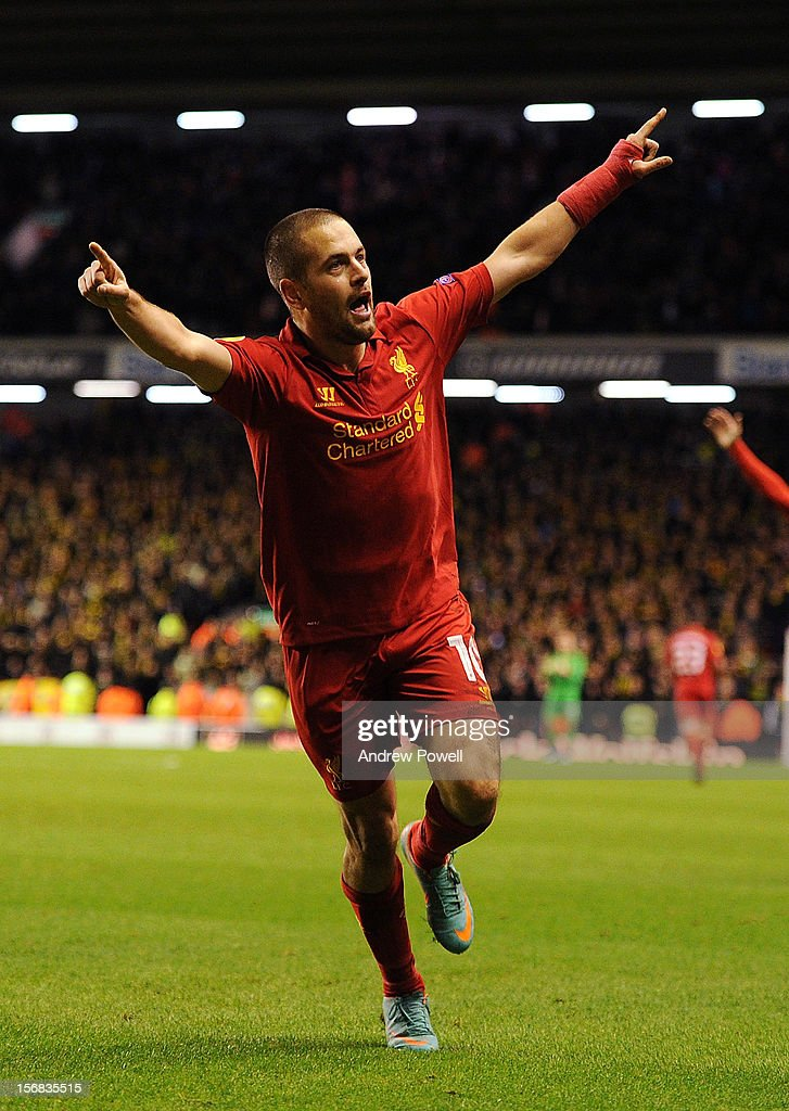 <a gi-track='captionPersonalityLinkClicked' href=/galleries/search?phrase=Joe+Cole&family=editorial&specificpeople=171525 ng-click='$event.stopPropagation()'>Joe Cole</a> of Liverpool celebrates his goal during the UEFA Europa League Group A match between Liverpool and BSC Young Boys at Anfield on November 22, 2012 in Liverpool, England.