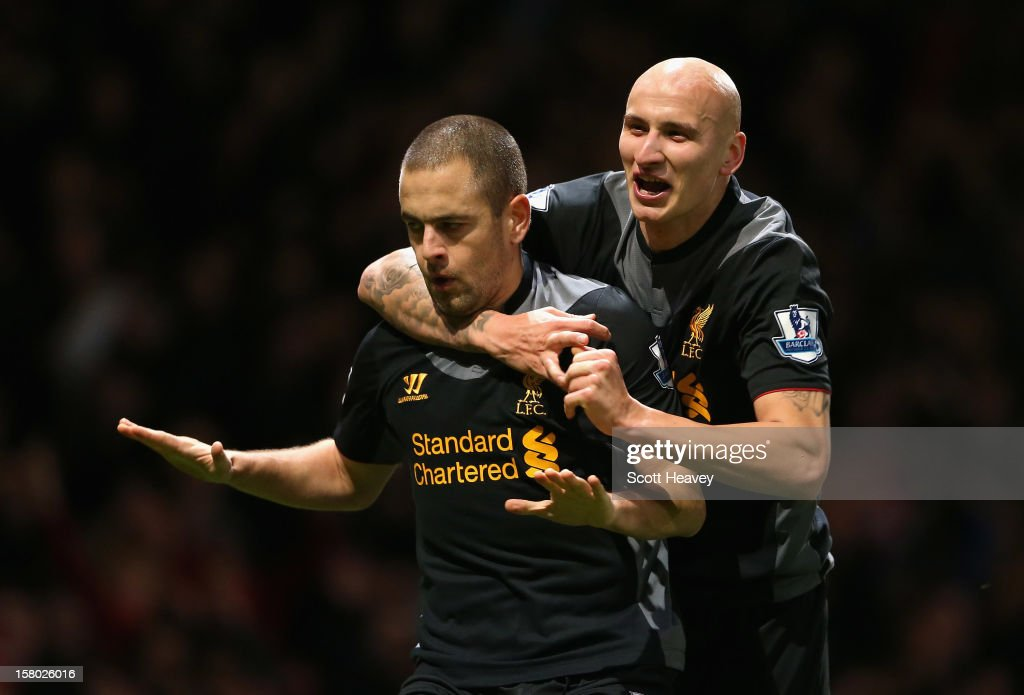 <a gi-track='captionPersonalityLinkClicked' href=/galleries/search?phrase=Joe+Cole&family=editorial&specificpeople=171525 ng-click='$event.stopPropagation()'>Joe Cole</a> (L) of Liverpool celebrates his goal with <a gi-track='captionPersonalityLinkClicked' href=/galleries/search?phrase=Jonjo+Shelvey&family=editorial&specificpeople=4940315 ng-click='$event.stopPropagation()'>Jonjo Shelvey</a> during the Barclays Premier League match between West Ham United and Liverpool at the Boleyn Ground on December 9, 2012 in London, England.