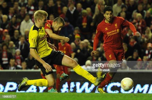 Joe Cole of Liverpool scores his team's second goal to make the score 21 during the UEFA Europa League Group A match between Liverpool FC and BSC...