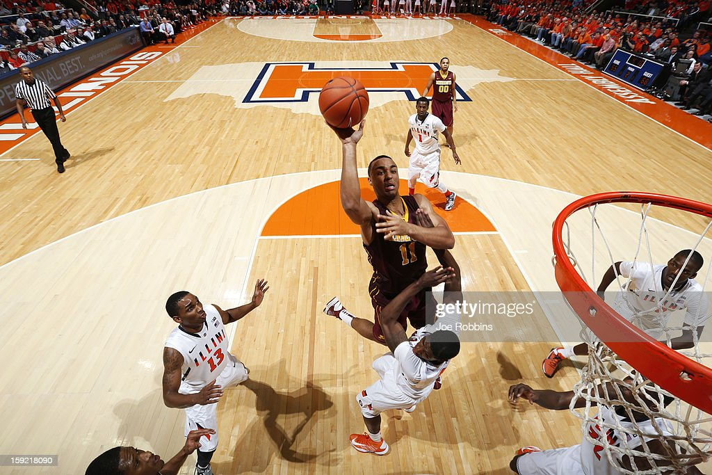 Joe Coleman #11 of the Minnesota Golden Gophers drives to the basket for two of his game-high 29 points against the Illinois Fighting Illini during the game at Assembly Hall on January 9, 2013 in Champaign, Illinois. Minnesota won 84-67.