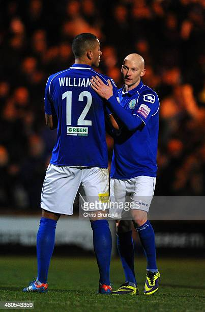 Joe Connor of Macclesfield Town with Steve Williams of Macclesfield Town at the final whistle during the Budweiser FA Cup Third Round match between...