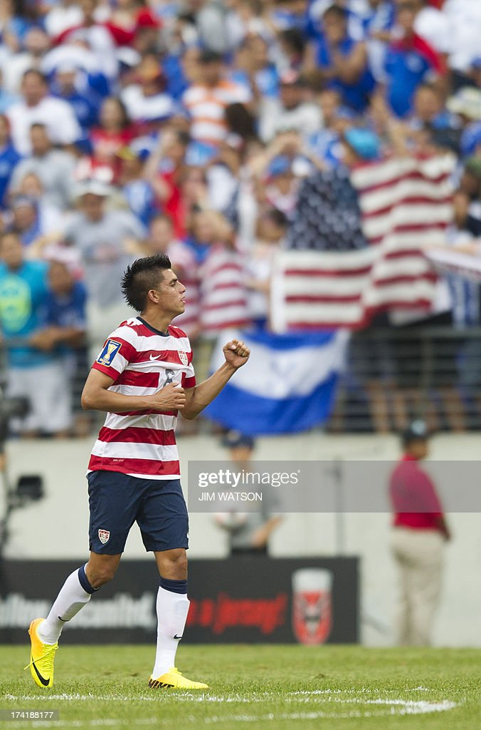 Joe Corona celebrates after scoring a goal against El Salvador in the first half of a CONCACAF quarterfinal match in Baltimore on July 21, 2013. AFP PHOTO/JIM WATSON