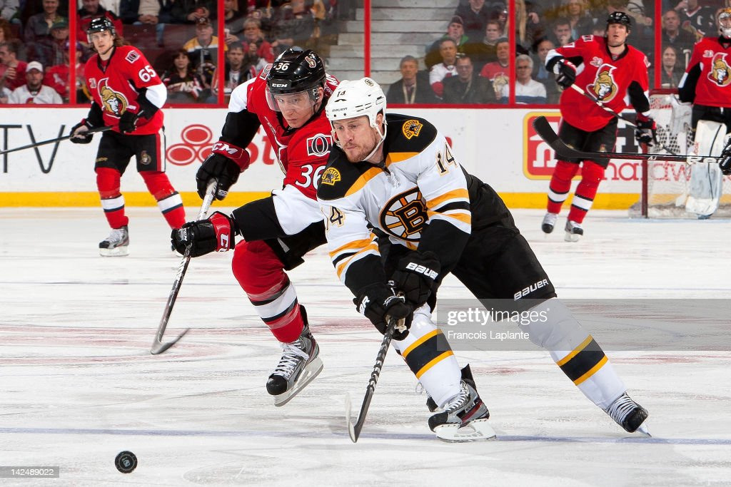 <a gi-track='captionPersonalityLinkClicked' href=/galleries/search?phrase=Joe+Corvo&family=editorial&specificpeople=206339 ng-click='$event.stopPropagation()'>Joe Corvo</a> #14 of the Boston Bruins skates against Rob Klinkhammer #36 of the Ottawa Senators at Scotiabank Place on April 5, 2012 in Ottawa, Ontario, Canada.