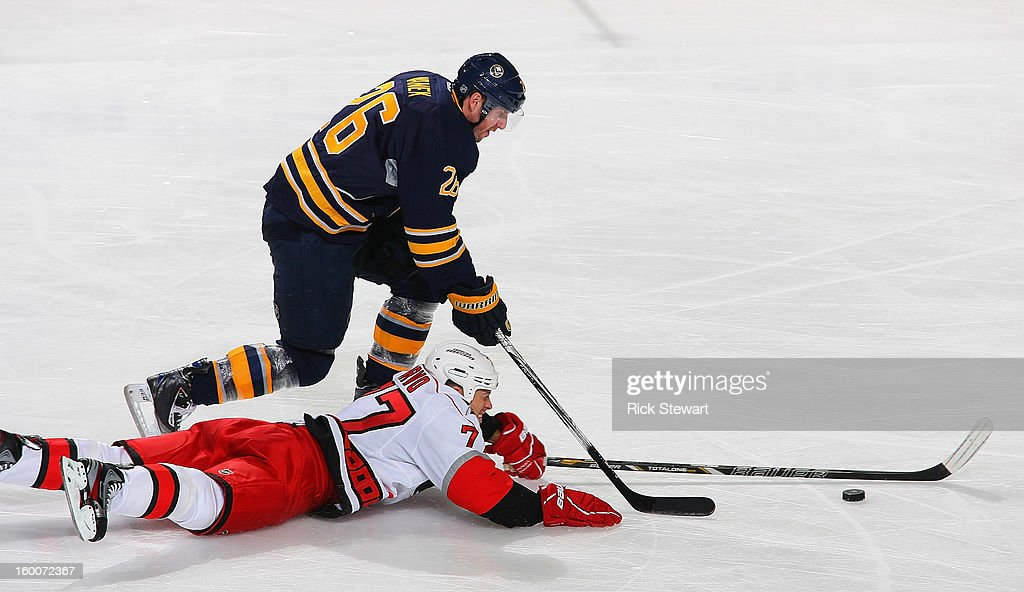 <a gi-track='captionPersonalityLinkClicked' href=/galleries/search?phrase=Joe+Corvo&family=editorial&specificpeople=206339 ng-click='$event.stopPropagation()'>Joe Corvo</a> #77 of the Carolina Hurricanes slides in to breakup a rush by <a gi-track='captionPersonalityLinkClicked' href=/galleries/search?phrase=Thomas+Vanek&family=editorial&specificpeople=570606 ng-click='$event.stopPropagation()'>Thomas Vanek</a> #26 of the Buffalo Sabres at First Niagara Center on January 25, 2013 in Buffalo, New York. Carolina won 3-1.