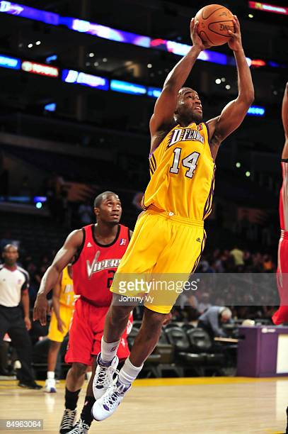 Joe Crawford of the Los Angeles DFenders attempts a shot during a game against the Rio Grande Valley Vipers at Staples Center on February 20 2009 in...