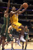 Joe Crawford of the Los Angeles DFenders goes up for a shot during the game against the Reno Bighorns at Staples Center on November 30 2008 in Los...