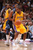 Joe Crawford of the Los Angeles Lakers takes the ball down court against the Utah Jazz during the game on October 7 2008 at Honda Center in Anaheim...