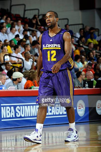 Joe Crawford of the Los Angeles Lakers walks across the court during the game against the Detroit Pistons during NBA Summer League presented by EA...