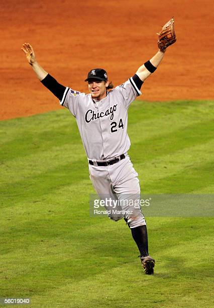 Joe Crede of the Chicago White Sox celebrates after winning Game Four of the 2005 Major League Baseball World Series against the Houston Astros at...