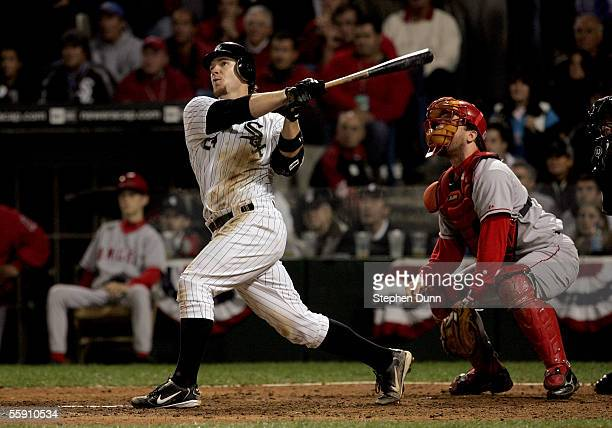 Joe Crede of the Chicago White Sox hits the game winning RBI double to score Pablo Ozuna in the ninth inning of Game Two of the American League...
