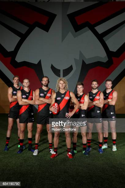 Joe Daniher Michael Hurley Cale Hooker Dyson Heppell Zach Merrett Jobe Watson and Brendon Goddard pose after the Essendon Bombers AFL intraclub match...