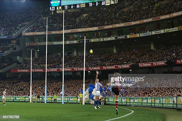 Joe Daniher of the Bombers kicks the ball for a goal during the Second Elimination AFL Final match between the North Melbourne Kangaroos and the...