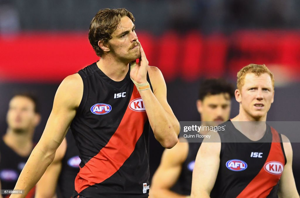 Joe Daniher of the Bombers looks dejected after losing the round six AFL match between the Essendon Bombers and the Melbourne Demons at Etihad Stadium on April 30, 2017 in Melbourne, Australia.