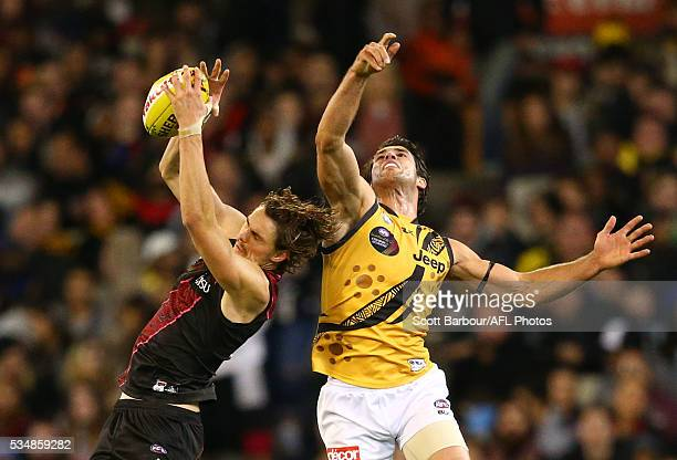 Joe Daniher of the Bombers marks the ball ahead of Alex Rance of the Tigers during the 2016 AFL Round 10 Dreamtime at the G match between the...