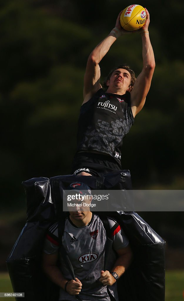 Joe Daniher of the Bombers marks the ball during an Essendon Bombers AFL training session at True Value Solar Centre on June 1, 2016 in Melbourne, Australia.