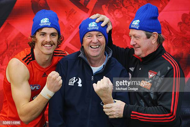 Joe Daniher of the Bombers Neale Daniher and Kevin Sheedy pose during an Essendon Bombers AFL media and training session at True Value Solar Centre...