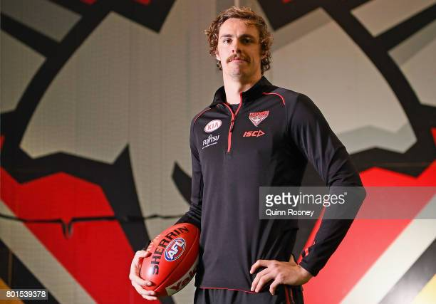 Joe Daniher of the Bombers poses during an Essendon Bombers AFL training session at the Essendon Bombers Football Club on June 27 2017 in Melbourne...