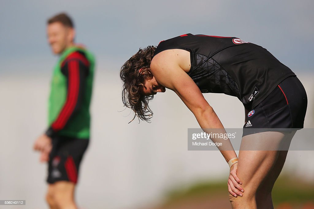 Joe Daniher of the Bombers takes a rest during an Essendon Bombers AFL training session at True Value Solar Centre on June 1, 2016 in Melbourne, Australia.