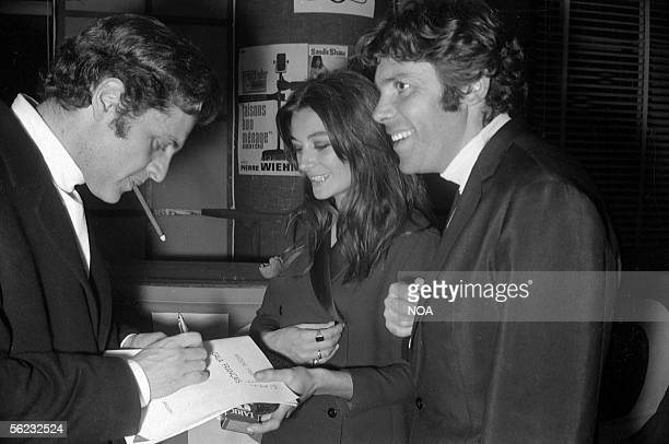Joe Dassin Anouk Aimee and Pierre Barouh Midem Cannes 1968 HA170014
