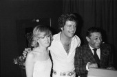 Joe Dassin Date Jacqueline and Henri Salvador at the Olympia Hall in Paris France on February 03th 1977