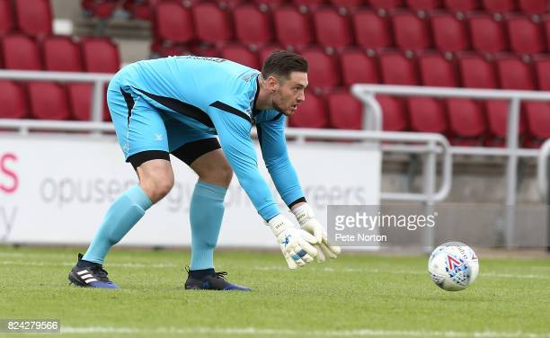 Joe Day of Newport County in action during the PreSeason Friendly match between Northampton Town and Newport County at Sixfields on July 29 2017 in...