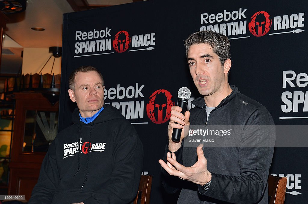 Joe De Sena, Spartan Co-founder and Yan Martin, Head of Global Brand Marketing at Reebok attend the Spartan Race 2013 Launch at Heartland Brewery on January 17, 2013 in New York City.
