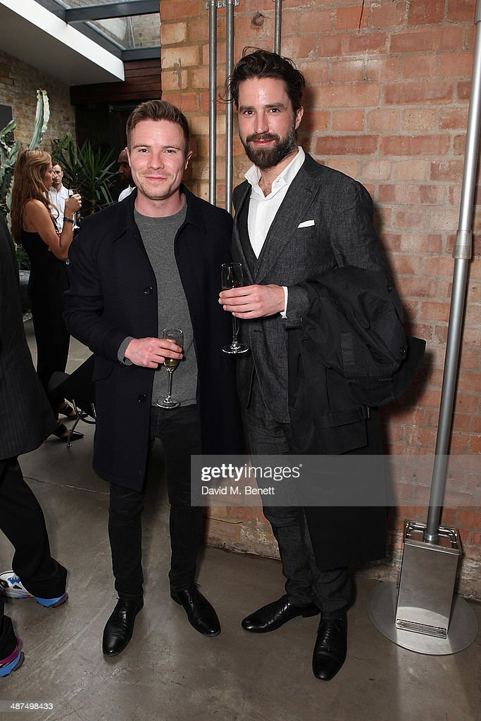 Joe Dempsie and Jack Guinness attends the Whistles menswear launch dinner>> on April 30 2014 in London England
