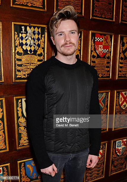 Joe Dempsie attends the Pringe Of Scotland Autumn/Winter 2014 menswear runway show during London Collections Men at Middle Temple Hall on January 11...