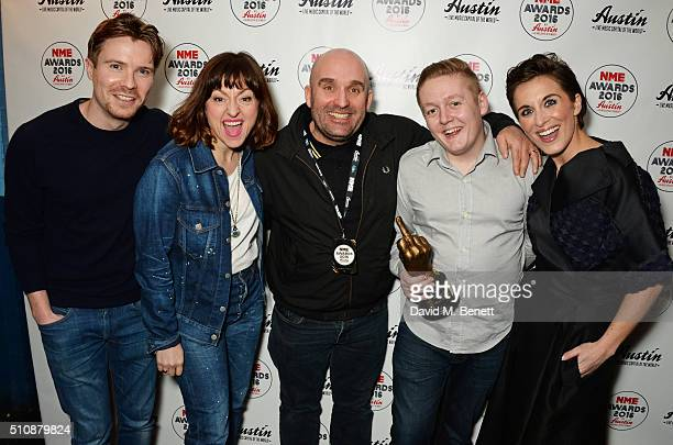 Joe Dempsie Jo Hartley Shane Meadows Thomas Turgoose and Vicky McClure winners of the Best TV Show award for 'This Is England '90' pose in the...