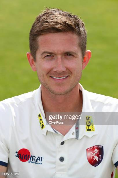 Joe Denly of Kent CCC poses during the Kent CCC Photocall at The Spitfire Ground on March 31 2017 in Canterbury England