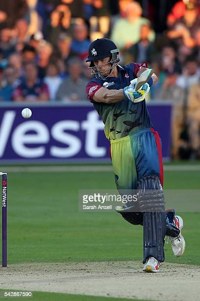 Joe Denly of Kent hits a boundary during the Natwest T20 Blast match between Kent and Middlesex at The Spitfire Ground on June 24 2016 in Canterbury...
