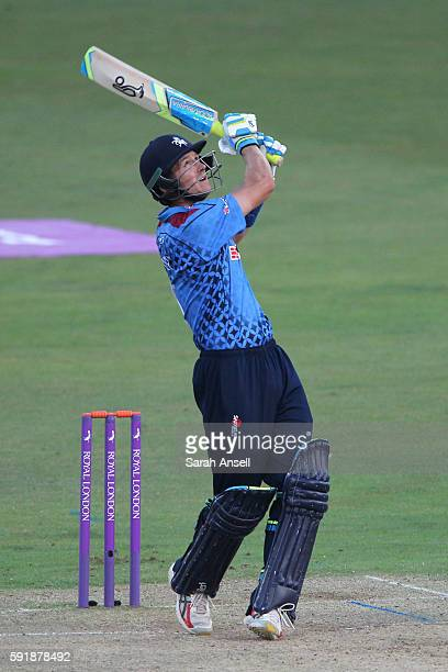 Joe Denly of Kent hits the ball straight up and is caught during the Royal London OneDay Cup quarter final between Kent v Yorkshire on August 18 2016...
