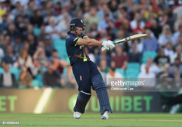 Joe Denly of Kent in action during the NatWest T20 Blast match between Surrey and Kent at The Kia Oval on July 14 2017 in London England