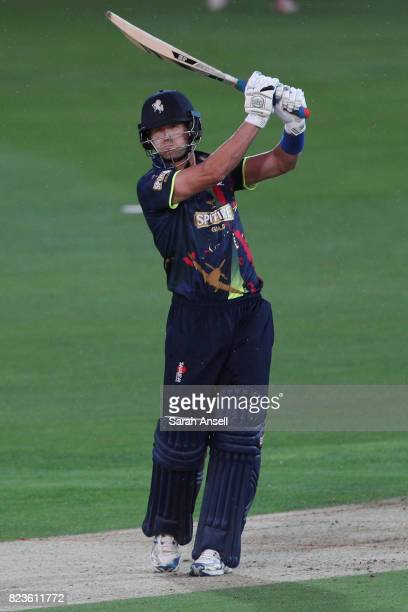 Joe Denly of Kent Spitfires hits a boundary during the NatWest T20 Blast South Group match at The Spitfire Ground on July 27 2017 in Canterbury...