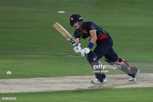 Joe Denly of Kent Spitfires hits out during the NatWest T20 Blast South Group match at The Spitfire Ground on July 18 2017 in Canterbury England