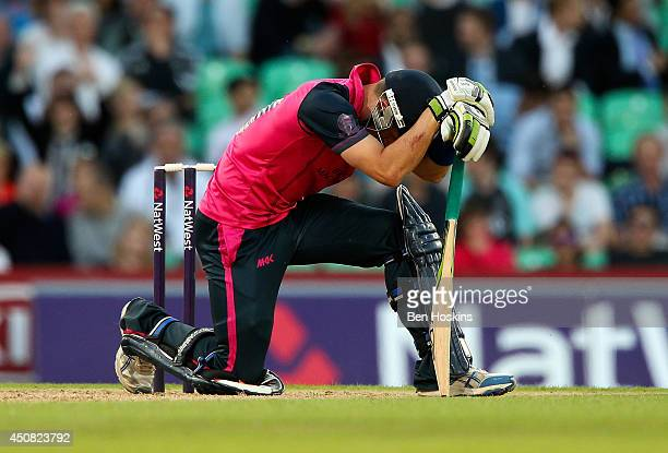 Joe Denly of Middlesex reacts during the Natwest T20 Blast match between Middlesex Panthers and Somerset at The Kia Oval on June 18 2014 in London...