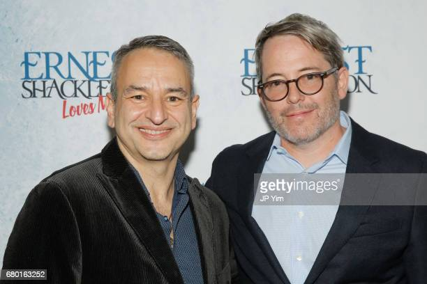 Joe DiPietro and Matthew Broderick attend the OffBroadway opening of 'Ernest Shackleton Loves Me' at the Tony Kiser Theatre on May 7 2017 in New York...