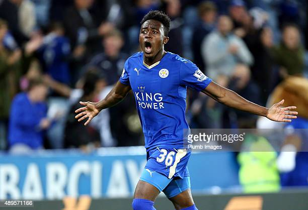 Joe Dodoo of Leicester City scores to make it 10 the Capital One Cup Third Round match between Leicester City and West Ham at the King Power Stadium...