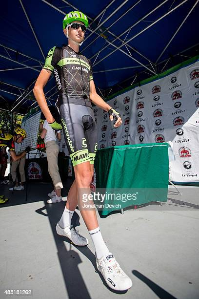 Joe Dombrowski of the Cannondale Garmin Pro Cycling Team leaves the sign on stage on the morning of stage 6 of the Tour of Utah on August 8 2015 in...