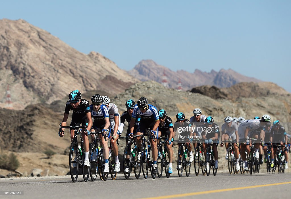 Joe Dombrowski of the USA and SKY Procycling leads the peloton during stage six of the 2013 Tour of Oman from Hawit Nagam Park to the Matrah Corniche on February 16, 2013 in Matrah, Oman.