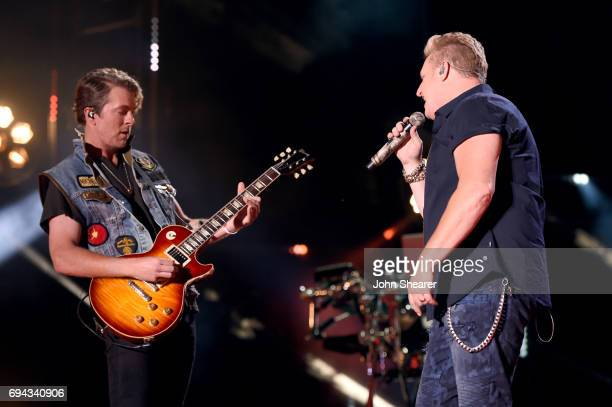 Joe Don Rooney and Gary LeVox of Rascal Flatts perform on stage for day 2 of the 2017 CMA Music Festival on June 9 2017 in Nashville Tennessee
