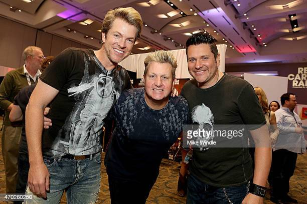 Joe Don Rooney Gary LeVox and Jay DeMarcus of Rascal Flatts attend the Red Carpet Radio presented by Westwood One Radio during the 50th Academy of...