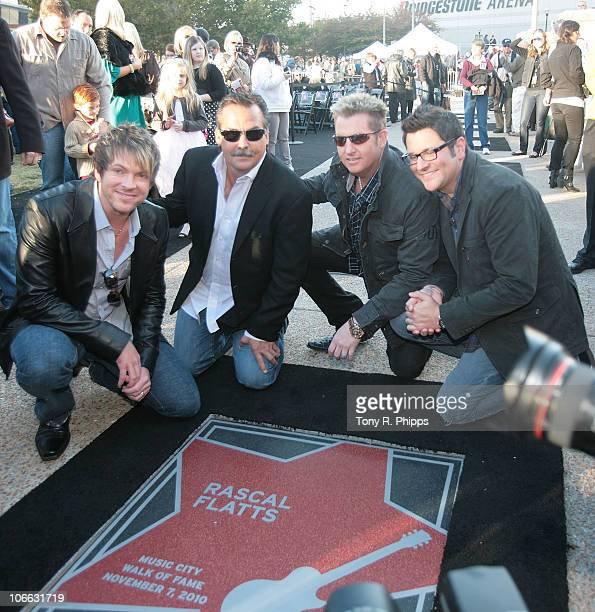 Joe Don Rooney Jeff Fisher Gary Levox and Jay DeMarcus attend the 2010 Nashville Music City Walk of Fame Induction Ceremony at Walk of Fame Park on...