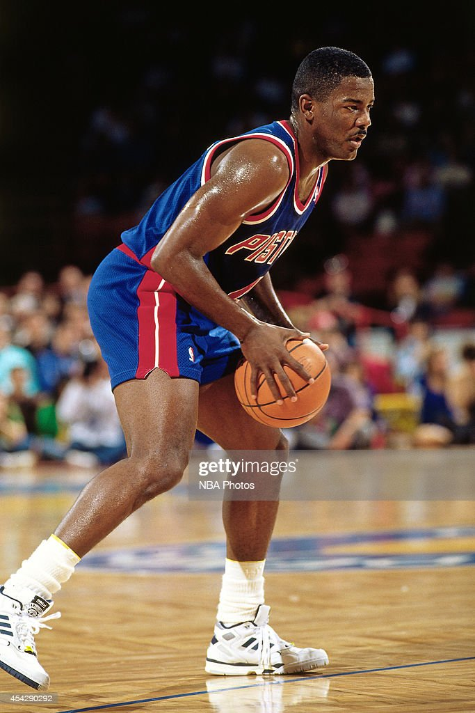 Joe Dumars of the Detroit Pistons dribbles against the Denver Nuggets circa 1994 at the McNichols Sports Arena in Denver Colorado NOTE TO USER User...