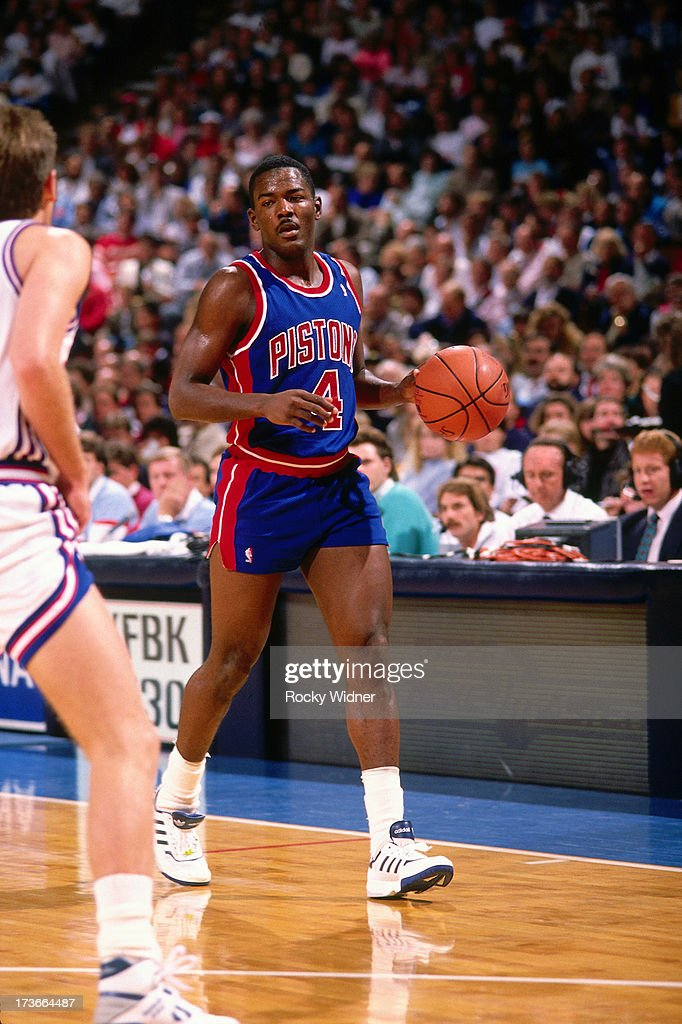 Joe Dumars of the Detroit Pistons dribbles against the Sacramento Kings during a game played on November 28 1989 at Arco Arena in Sacramento...