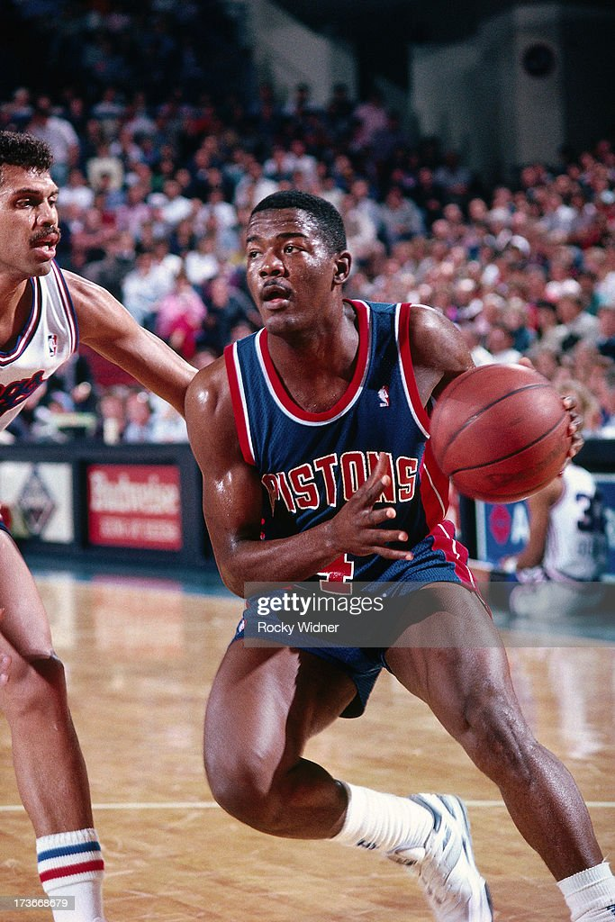 Joe Dumars of the Detroit Pistons drives against the Sacramento Kings during a game played on February 23 1988 at Arco Arena in Sacramento California...