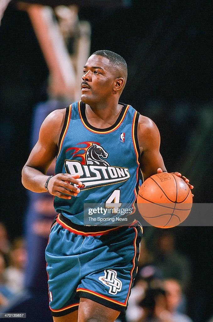 Joe Dumars of the Detroit Pistons during the game against the Houston Rockets on February 19 1999 at Compaq Center in Houston Texas