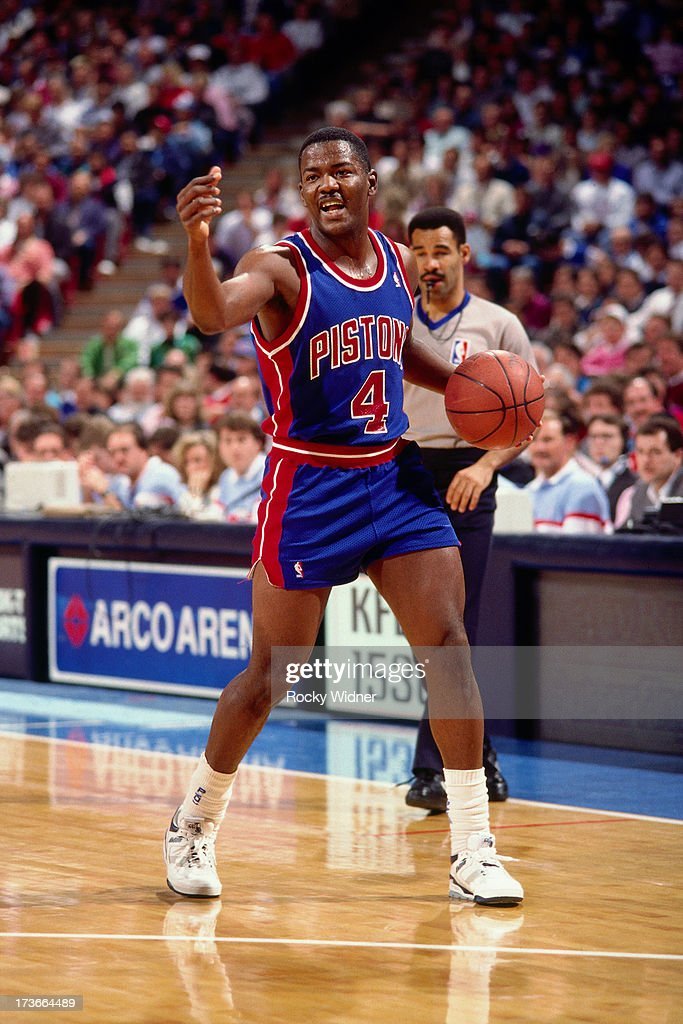 Joe Dumars of the Detroit Pistons handles the ball against the Sacramento Kings during a game played on November 28 1989 at Arco Arena in Sacramento...